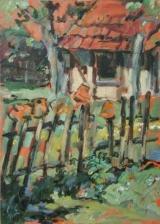 <h5>Sibylle Bross · Hühnerhaus · 2007</h5><p>Öl auf Leinwand  <br> 70 x 50</p>