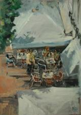 <h5>Sibylle Bross · Eiskaffee · 2006</h5><p>Öl auf Leinwand <br> 70 x 50</p>