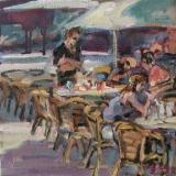 <h5>Sibylle Bross · Eiscafe · 2007</h5><p>Öl auf Leinwand <br> 30 x 30</p>