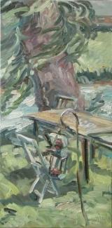<h5>Sibylle Bross · Alte Weide · 2007</h5><p>Öl auf Leinwand <br> 90 x 40</p>