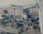 <h5>Sibylle Bross · Blaue Stühle · 2007</h5><p>Öl auf Leinwand <br> 24 x 30</p>