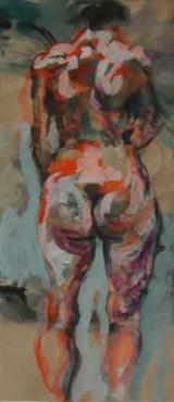 <h5>Katrin · 2003</h5><p>Acryl auf Papier &lt;br&gt; 56 x 25</p>