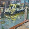 <h5>Sibylle Bross · Gelbes Boot, 2010</h5><p>Öl auf Leinwand<br> 50 x 50  </p>