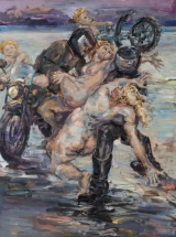 <h5>Sibylle Bross · Überfall in Scheveningen · 2014</h5><p>Öl auf Leinwand &lt;br&gt; 160 x 120</p>