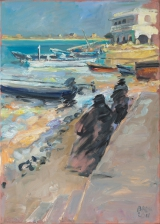 <h5>Sibylle Bross · Hafen in Shela, Kenia · 2011</h5><p>Öl auf Leinwand<br> 70 x 50</p>