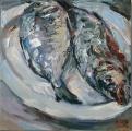 <h5>Sibylle Bross · Dorade und Wolfsbarsch · 2014</h5><p>Öl auf Leinwand <br> 40 x 40</p>