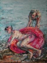 <h5>Sibylle Bross · Die lustige Auster · 2007</h5><p>Öl auf Leinwand <br> 160 x 120</p>