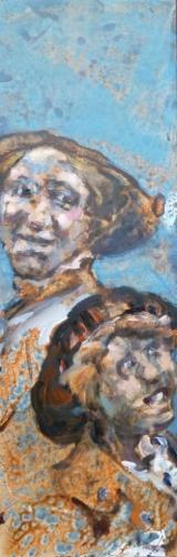 <h5>Sibylle Bross · Mit Hut · 2013</h5><p>Acryl/Öl auf Leinwand &lt;br&gt; 120 x 40</p>