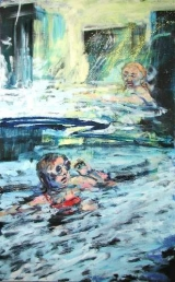 <h5>Sibylle Bross · Strömung · 2007</h5><p>Acryl/Öl auf Leinwand &lt;br&gt; 160 x 100</p>
