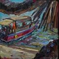 <h5>Sibylle Bross · Boot in Shela · 2015</h5><p>Öl auf Leinwand <br> 40 x 40</p>