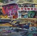 <h5>Sibylle Bross · Das rosa Haus, Lamu · 2015</h5><p>Öl auf Leinwand <br> 40 x 40</p>