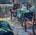 <h5>Sibylle Bross · Terasse im Baitil Aman · 2015</h5><p>Öl auf Leinwand <br> 40 x 40</p>