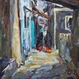 <h5>Sibylle Bross · Gasse in Lamu Town · 2015</h5><p>Öl auf Leinwand <br> 40 x 40</p>