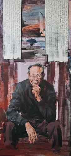 Han Sen · 2001 Acryl u. Öl auf Leinwand 120 x 60